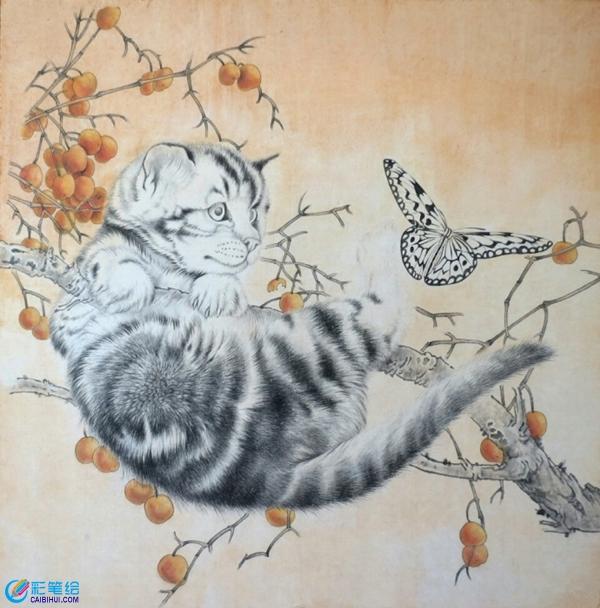 国画工笔画猫与蝴蝶