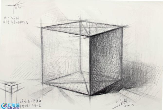 石膏像正方体素描怎么画