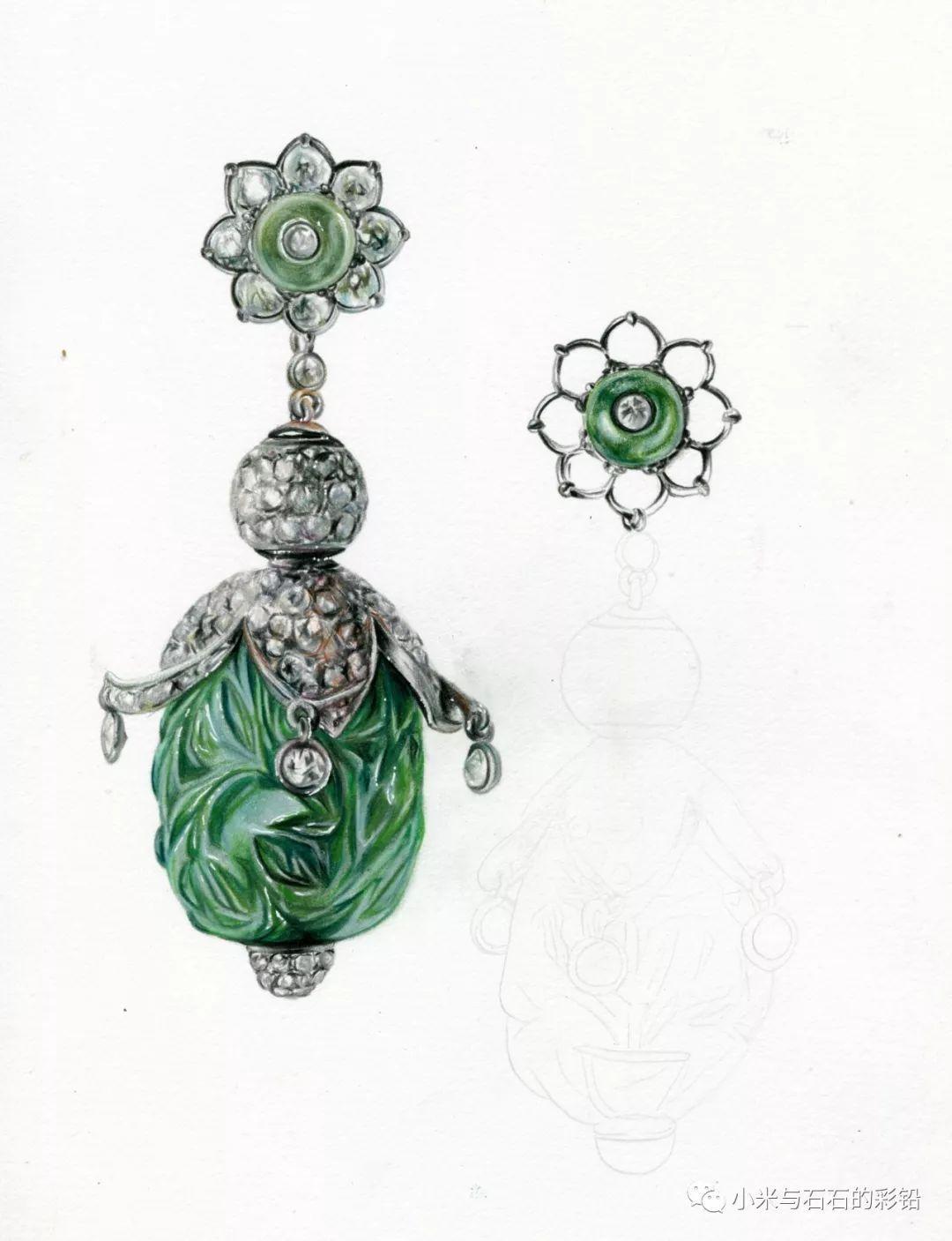 彩铅手绘钻石祖母绿耳环