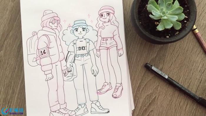 动漫画女生线稿视频教程