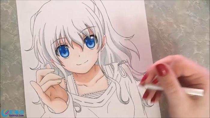 彩铅手绘动漫少女