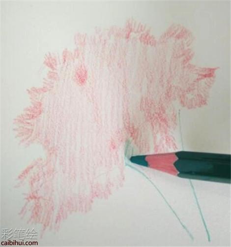 康乃馨彩铅画教程:在康乃馨的的花瓣画好了之后,选择绿色的彩铅笔画