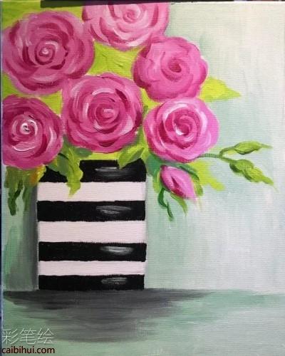 玫瑰花油画教程- 素描彩铅画画水彩-彩笔绘