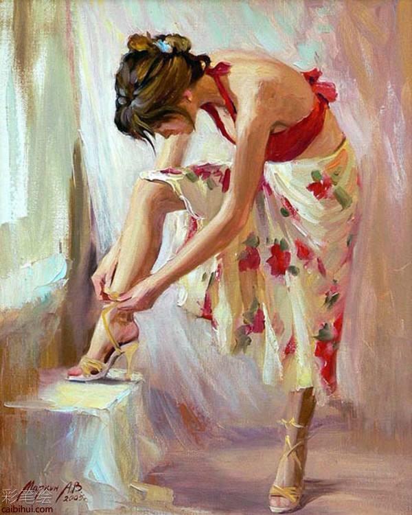 俄罗斯画家美女油画作品- 素描彩铅画画水彩-彩笔绘