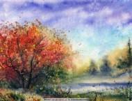 超美的风景水彩画全程, 加速效果更厉害, 你来感受一下
