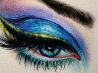 美丽动人的彩妆<font color='red'>眼睛</font>1(彩铅画)