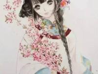 水彩画<font color='red'>古风</font>抱海棠花的女孩