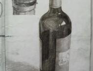 透明水杯红酒的素描画法