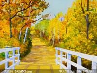 水彩画秋日树林晨光的画法
