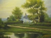 油画教程之绿色草地的画法