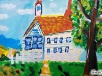水彩画阳光下的小房子的画法