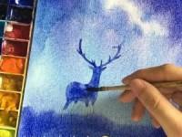 水彩画教学之星空下的鹿