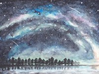 水彩画教学 只用一种底色画星空