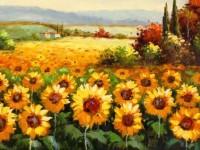 唯美油画棒绘画—向日葵的画法教学