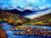 分享一幅漂亮的雪山风景油画教程