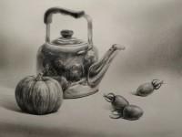 素描手绘茶壶及蔬菜静物