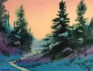 美国画家的水彩画风景作品