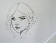 手绘简单美女头像