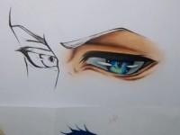 彩铅画动漫人物眼睛