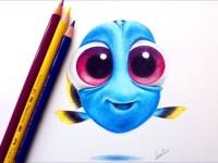 彩铅手绘海底总动员多莉的形象