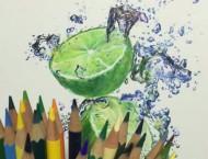 彩铅画写实绿柠檬步骤