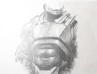 用自动铅笔素描画钢铁侠盔甲