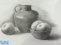 素描陶瓷罐子与<font color='red'>水果</font>组合静物示范
