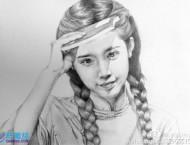 素描手绘女孩头像步骤