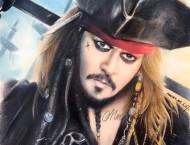彩铅手绘加勒比海盗杰克船长