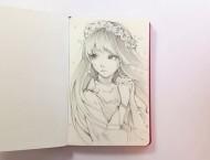 自动铅笔画动漫画少女