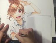 马克笔画动漫青春美少女