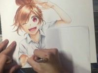 <font color='red'>马克笔</font>画动漫青春美少女