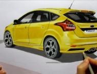 彩铅手绘小汽车过程步骤