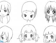 Q版动漫画人物脸型画法参考