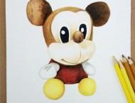 彩铅手绘米奇玩偶